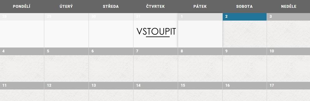 Kalendář vstupit